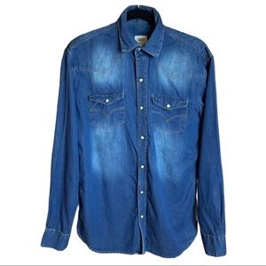 Levi's Slim Fit Pearl Snap Jean Collared Shirt